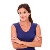 Charming female smiling and looking happy — Stock Photo