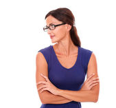Beautiful woman in purple dress and spectacles — Stock Photo