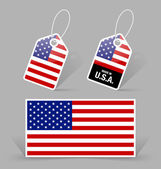 American flag and tags — Stockvector