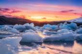 Jokulsarlon & Sunset — Stock Photo