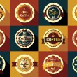 Collection of vintage retro coffee stickers, badges, ribbons and — Stock Vector #64312219