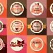 Collection of vintage retro ice cream and cupcake labels, sticke — Stock Vector #64322739