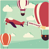 Birthday background hot air balloons and an airplane — Stock Vector