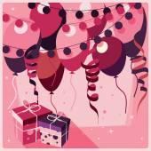 Birthday pozadí s dárky a balónky — Stock vektor