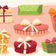 Collection of colorful gift boxes with bows and ribbons — Stockvector  #65545661