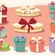 Collection of colorful gift boxes with bows and ribbons — Stockvector  #65601857