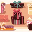 Collection of colorful gift boxes with bows and ribbons — Stockvector  #65628989