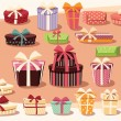 Collection of colorful gift boxes with bows and ribbons — Stockvector  #65798343