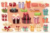 Collection of colorful gift boxes with bows and ribbons — ストックベクタ