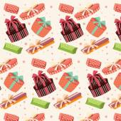 Background with colorful gift boxes, seamless pattern — Vector de stock