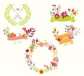 Hand drawn vintage flowers and floral elements for weddings, Valentines day, birthdays and holidays — Stock Vector