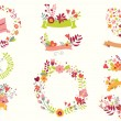Hand drawn vintage flowers and floral elements for weddings, Valentines day, birthdays and holidays, vector illustration — 图库矢量图片 #67251467