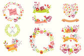 Hand drawn vintage flowers and floral elements for weddings, Valentines day, birthdays and holidays, vector illustration — Vetor de Stock