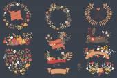 Dessinés à la main fleurs vintage et des éléments floraux pour les mariages, Saint Valentin, anniversaires et fêtes, vector illustration — Vecteur