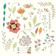 Hand drawn vintage flowers and floral elements for weddings, Valentines day, birthdays and holidays, vector illustration — 图库矢量图片 #70736033