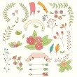 Hand drawn vintage flowers and floral elements for weddings, Valentines day, birthdays and holidays, vector illustration — 图库矢量图片 #70736035
