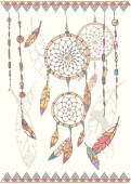 Hand drawn native american dream catcher, beads and feathers — 图库矢量图片