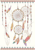 Hand drawn native american dream catcher, beads and feathers — Stock Vector
