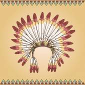 Hand drawn native american indian chief headdress — Stockvector