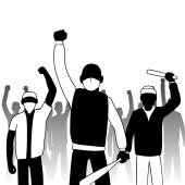 Combative protesters — Stock Vector