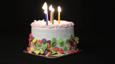 Birthday Cake and Candles — Stock Video