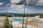 Landscape view of Grand prismatic spring with dry trees in Yello — Stock Photo