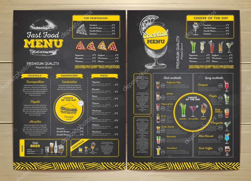 conception de menus sur restauration rapide dessin craie vintage menu cocktail image. Black Bedroom Furniture Sets. Home Design Ideas