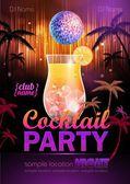 Disco background. Cocktail party poster — Stok Vektör