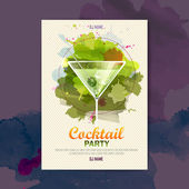 Cocktail watercolor paint disco poster — Stock Vector