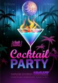 Disco background. Cocktail party poster — Stock Vector