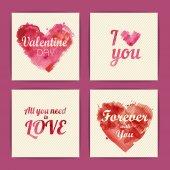 Set of watercolor valentine invitation cards — Vettoriale Stock