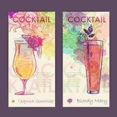 Artistic decorative watercolor cocktail poster. Disco background — Stock Vector
