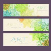 Set of ornamental artistic watercolor banners — Stock Vector