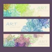 Set di banner acquerello artistico ornamentale — Vettoriale Stock