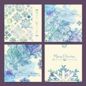 Set of holiday Christmas cards — Stock Vector