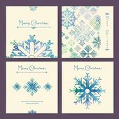 Set of holiday Christmas cards — Vector de stock