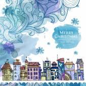 Dibujo decorativo de la ciudad. fondo de navidad invierno — Vector de stock