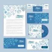 Winter corporate identity — Stock Vector