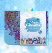 Christmas background. Notebook. Decorative city — Stock Vector