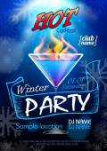 Disco background. Winter Cocktail party poster — Stock vektor