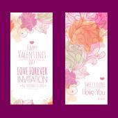 Valentines day background. Set of banners — Vector de stock