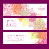 Valentines day background. Set of banners — Stock Vector