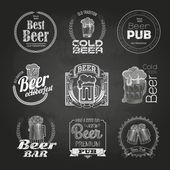 Set of chalk beer drawings. Chalk decorative labels — Stock Vector