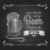 Beer in mag. Chalk drawing — Stock Vector