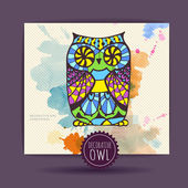 Card with decorative owl and watercolor stain — Stock Vector
