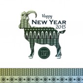 Decorative backgroun with goat. New Year 2015 — Stock Vector