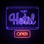 Neon sign. Night Hotel — Stock Vector