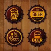 Bottle cap Design. Beer labels — Stock Vector