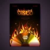 Disco poster. fire Hard rock background. Burning Disck or record — Stock Vector