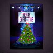 Disco background. Merry Christmas poster — Stockvektor